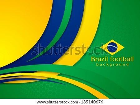 Bright wavy background in Brazilian colors - stock vector