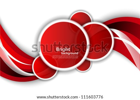Bright wavy background with circles - stock vector