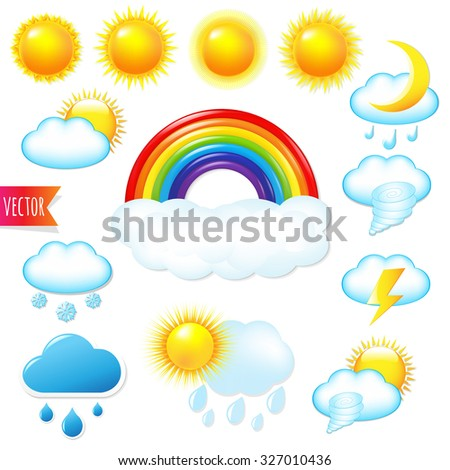 Bright Weather Icons Set With Gradient Mesh, Vector Illustration - stock vector