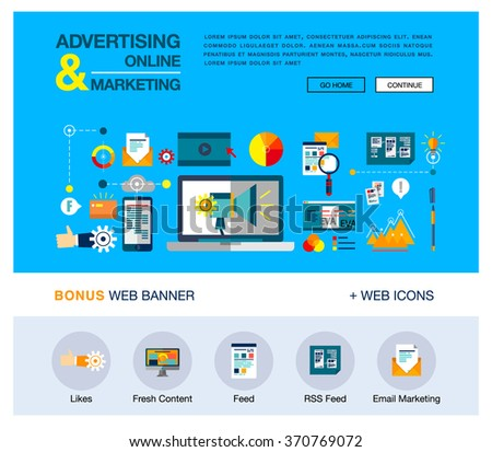 Bright web banner template with outline icons of online marketing promotion, digital advertising research, SMM campaign. Modern vector illustration business concept for websites, infographics.