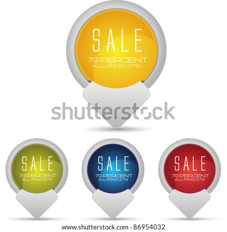 bright web tags or badges - stock vector