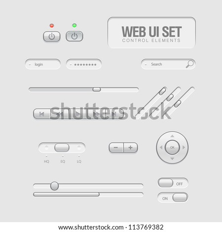 Bright Web UI Elements Design Gray. Buttons, Switches, bars, power buttons, sliders - stock vector