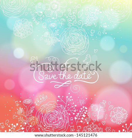Bright wedding invitation in vector. Delightful Save the Date card in modern style. Adorable romantic card with lovers, heart and bokeh - stock vector