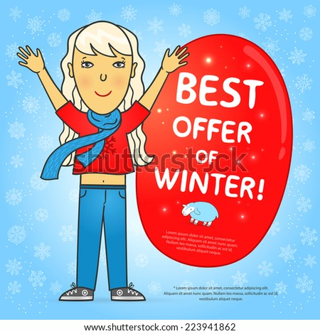 """Bright winter background with snowflakes, cute girl, red sticker with the words """"best offer of winter"""" and a cute lamb. Vector illustration.  - stock vector"""