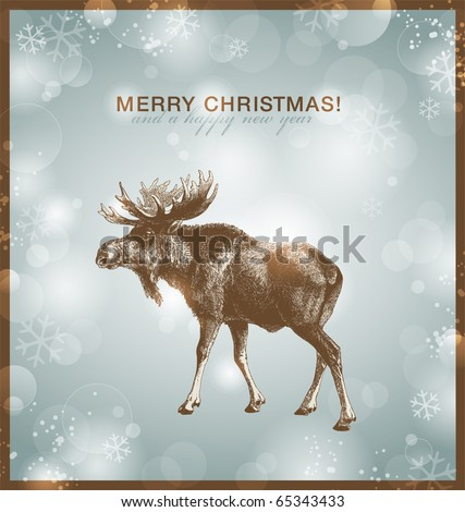 bright winter/christmas background or card with moose against a snowy blurred background - stock vector