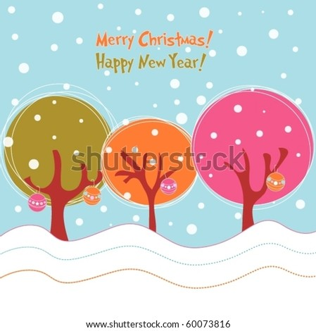 Bright winter trees, Christmas illustration - stock vector