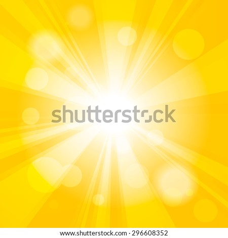 Bright yellow abstract festive bokeh sun effect background - stock vector