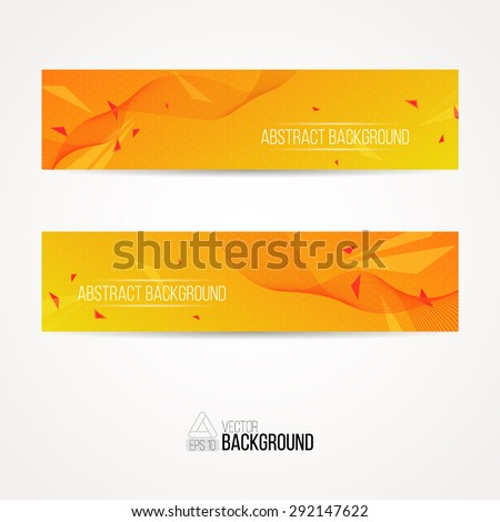 Bright yellow and orange modern color banners with bright triangles. The best banner for your website. Vector illustration EPS 10. - stock vector