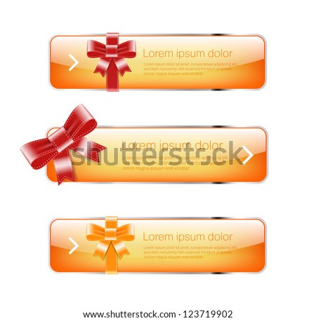 Bright yellow glossy vector buttons / banners with silky glossy ribbons and bows - stock vector