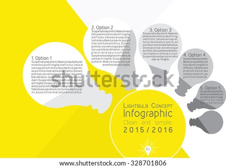 Bright yellow light bulb infographic, depicting the concept of an idea or innovation - stock vector