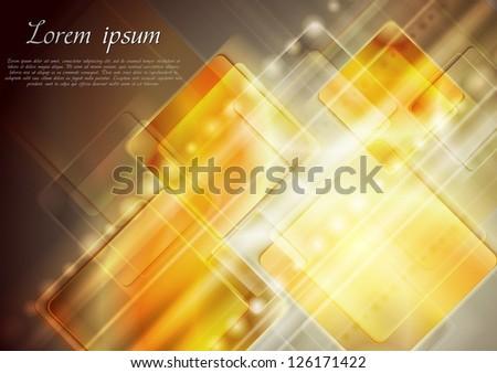 Bright yellow tech background. Vector design eps 10 - stock vector