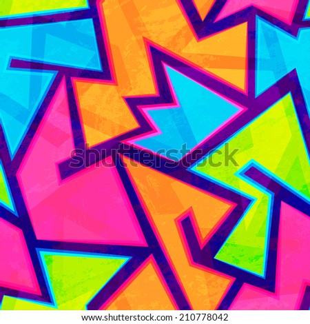 bright youth seamless pattern with grunge effect - stock vector