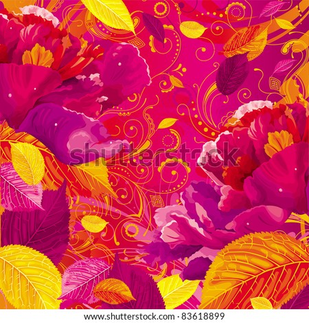 Brightly colored autumn leaves and red peony on the floral background - stock vector