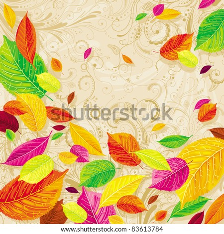 Brightly colored autumn leaves on the floral background - stock vector