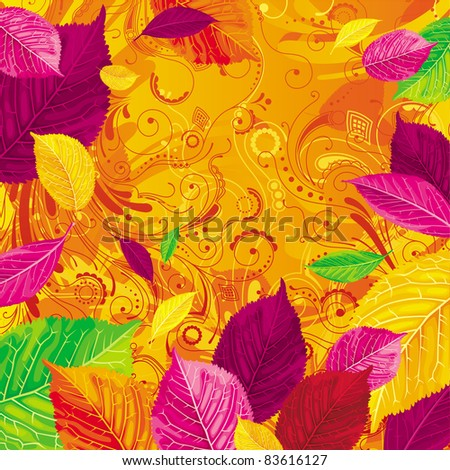 Brightly colored autumn leaves on the gold floral background - stock vector
