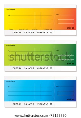 Brightly colored check payment with room to add your own amount - stock vector