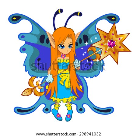 Brightly colored cute fairy on the white background. - stock vector