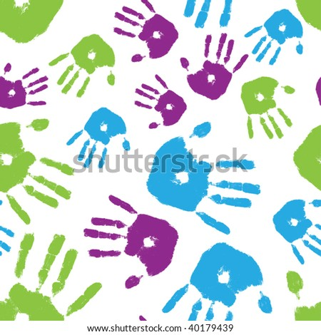 Brightly colored handprints arranged in a seamless composition - stock vector