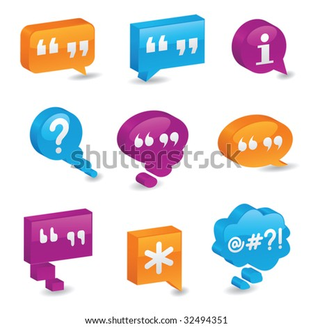 Brightly colored, three-dimensional bubbles symbolizing communication - stock vector