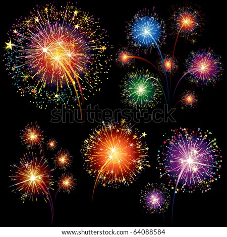 Brightly Colorful Vector Fireworks and Salute- vector isolated on black background - stock vector