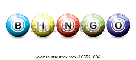 Brightly coloured bingo balls with light reflection - stock vector