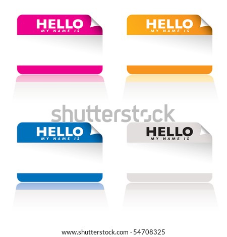 Brightly coloured name tag card with corner curl and shadow reflection