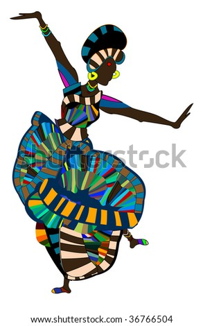 brightly dressed woman cheerfully perform ethnic dance - stock vector