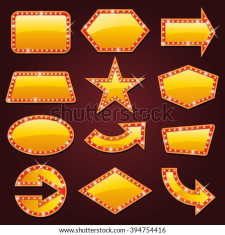 Brightly golden glowing retro cinema neon sign - stock vector