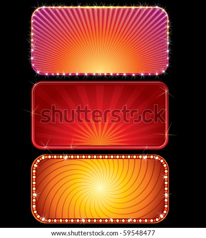 Brightly lit vector billboards (only gradients used) - stock vector
