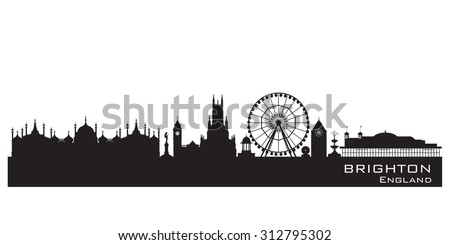 Brighton England skyline. Detailed silhouette. Vector illustration - stock vector
