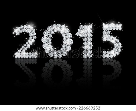 Brilliant text for the new year 2015. Vector background - stock vector