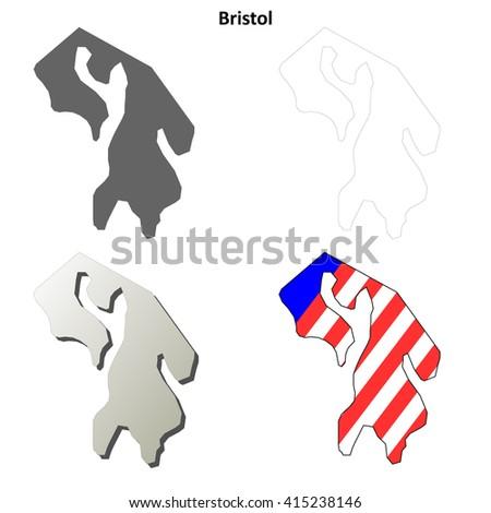 Bristol County, Rhode Island blank outline map set - stock vector