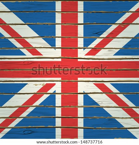 Britain flag on wood texture - stock vector
