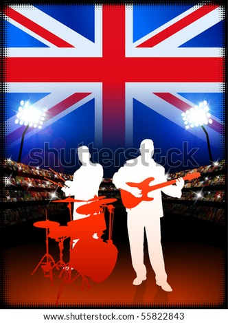 Britain Live Music Band on Stadium Concert Background with Flag Original Illustration - stock vector