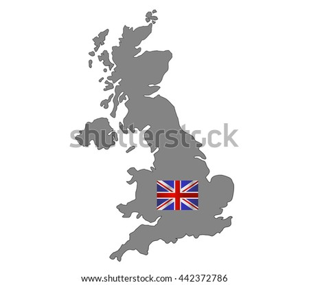 britain map with flag - stock vector