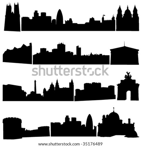 Britain's famous historical buildings and modern architecture. - stock vector