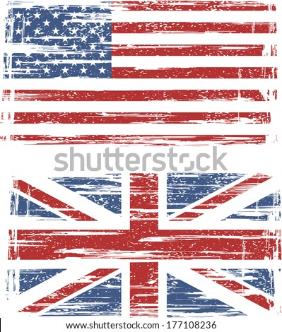 British and American grunge flags. Vector illustration - stock vector