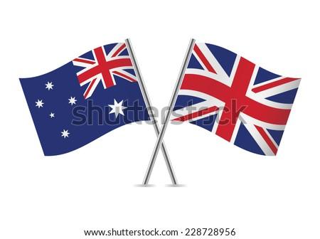 British and Australian flags. Vector illustration. - stock vector