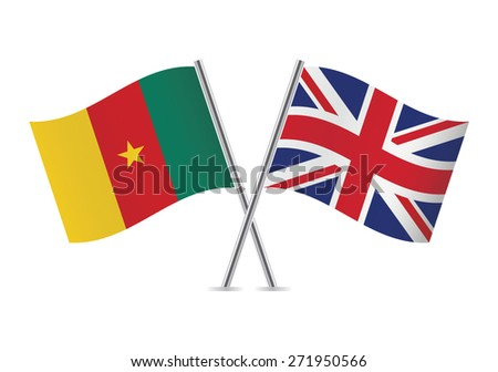 British and Cameroon flags. Vector illustration.