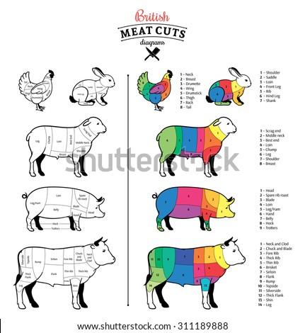British Cuts Of Beef Pork Lamb Rabbit And Chicken Diagrams