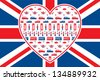 British flag background - Heart shaped seamless vector patten with London symbols. Grouped and on 2 separate layers for easy manipulation. - stock photo