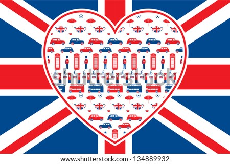 British flag background - Heart shaped seamless vector patten with London symbols. Grouped and on 2 separate layers for easy manipulation. - stock vector
