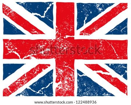 british flag grunge - stock vector