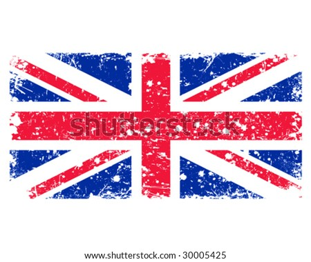 British flag in retro style - stock vector