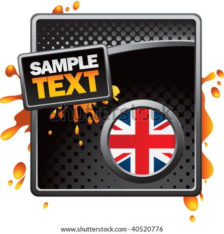 british flag on black grungy halftone advertisement - stock vector