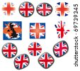British Flag symbols icons Buttons vector illustration UK - stock vector