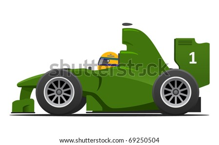 British green racing formula 1 car vector illustration - stock vector