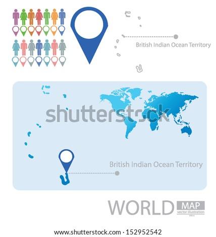 British Indian Ocean Territory. World Map. vector Illustration. - stock vector