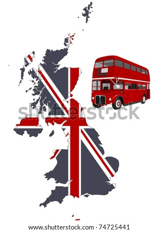 British map and double-decker - stock vector