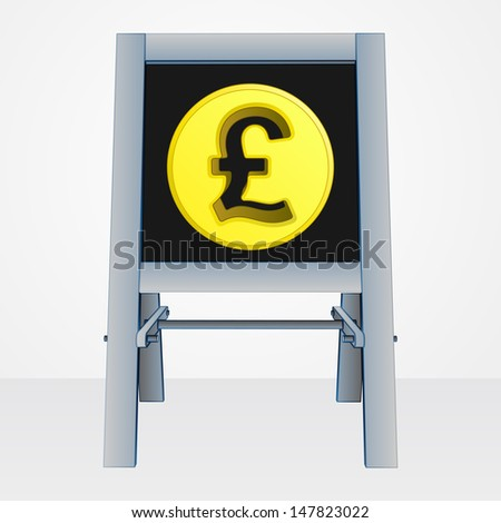 british pound coin on easel board vector illustration